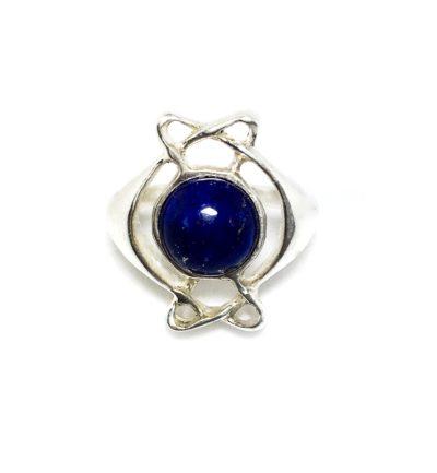 Anel Entre Laços em Prata de Lei com Lapis Lazuli