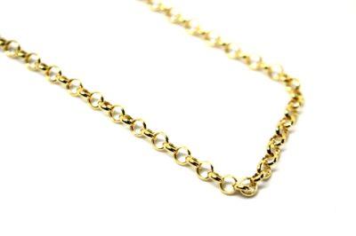 Cordão de Elo Português ouro 18 k - oco - 40 cm