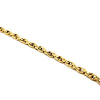 Cordão elos ovais duplos ou cordão meia corda ouro 18K